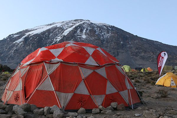Dining tent at camp on Kilimanjaro