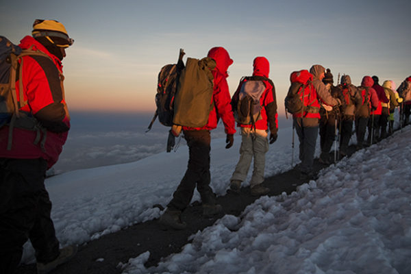 Approaching the summit at sunrise