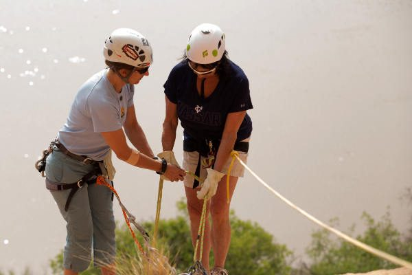 Learning how to safely rappel by the Colorado River in Southern Utah.