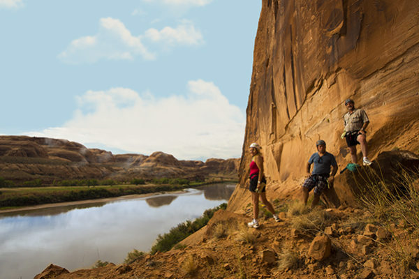 Rappeling down red rock walls