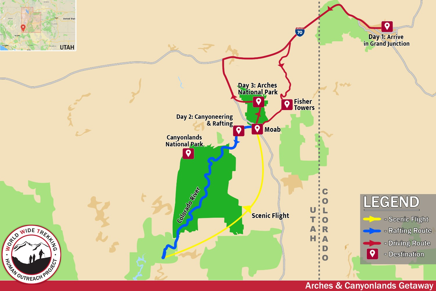 map of Arches & Canyonlands itinerary